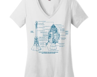 Rocket V Neck Tee Womens Shirt Nerdy Shirt Science Teacher Gift Teacher Shirts Scientist Shirt College Student Gift Apollo Drawing Shirt