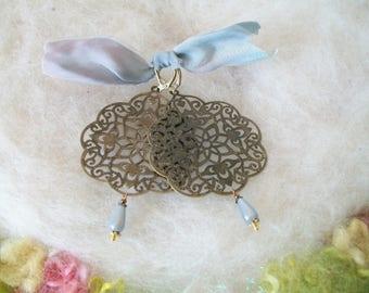 Earrings Large Boho Bronze Metal Stamping India Mandala Flower Filigree Round Hippie Statement Earrings Fun Retro Vintage Inspired