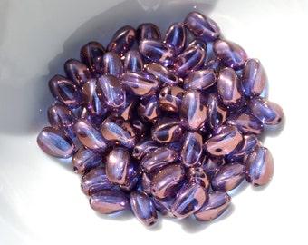 Lumi Blue Twisted Rice Czech GLass Beads 50
