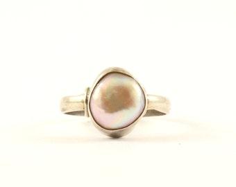 Vintage Natural Mother of Pearl Design Ring 925 Sterling RG 281