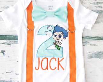 Baby boy second birthday Bubble Guppies number 2 onesie with bow tie and suspender, Parents' Shirts, boy number 2 onesie Gil second birthday