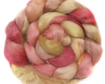 WENSLEYDALE roving top handdyed spinning fibre 3.3 oz