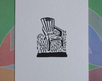 Original block print art handprinted chair with watercolor