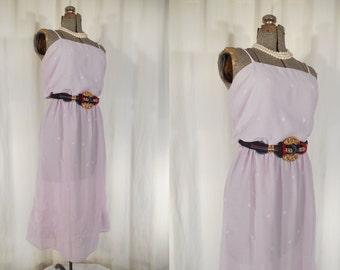 Vintage 1970s Dress / Large Summer Dress / 70s Disco Dress Lavender Purple Sheer