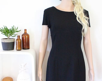 vintage black dress size 14 40 buttons down back retro corporate evening wool