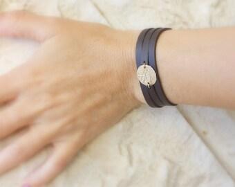 Leather Wrap Bracelet -  Mens leather bracelets -  Custom bracelet -  Rose gold leather bracelet - Dainty Leather Bracelet