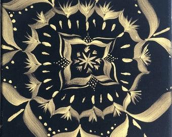 black and gold Mandala painting 8x10