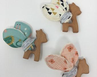 Organic Giraffe Wood Teether Ring /Organic Teething Ring / Organic Baby Toy / Bunny Ear Teether / Baby Shower Gift