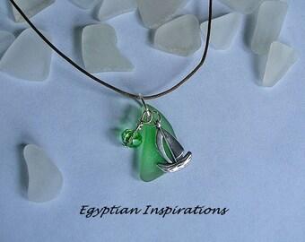 Sea glass ship necklace. Green beach glass necklace. Nautical jewelry.