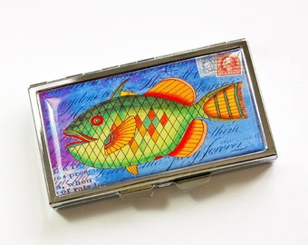 7 day pill box, Pill case, Fish pill case, 7 sections, 7 day, Pill Container, Pill Box, fish, bright colors, Kellys Magnets (3976)