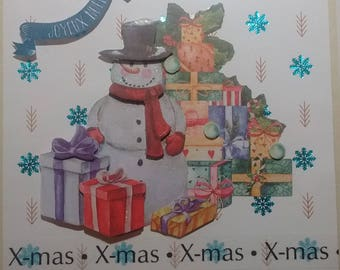 X card - mas snowman snow and her gifts, 3D