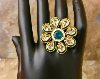 Indian Pakistani Bollywood 22K Gold Plated Green Flower Stone Pearl Adjustable Finger Ring 004