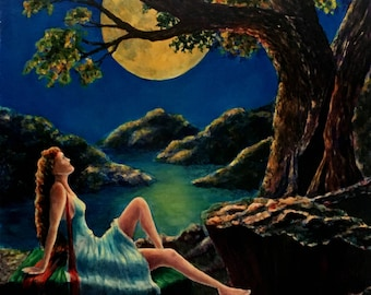 Thinking of You,  original oil painting by John Entrekin, 24 x 18 inches. wall art, figure painting, realism art,moonlight,woman
