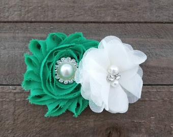 Green and Ivory Hair Clip, Infant Hair Clip, Girl's Hair Clips, Flower Girl Hair Clip, Green Hair Clip, Ivory Hair Clip, Bridal Hair Clip