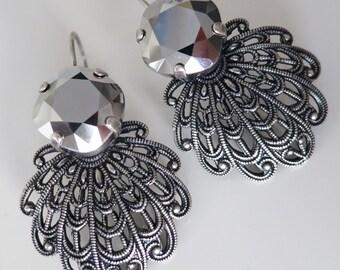 Filigree antique silver Earrings,Metallic Gray Earrings,Art Deco Earrings,Swarovski crystal Victorian Vintage Antique style Estate Goth GIFT