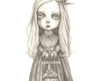 An A6 postcard  print of my drawing  the little ghost girl