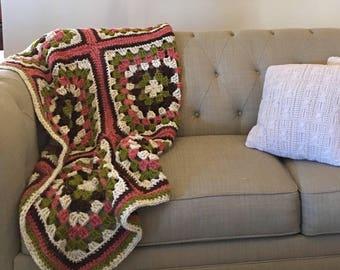 Spring Granny Square Wool Afghan