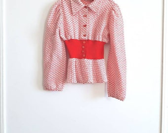 Vintage Junior Size Red and White Shirt
