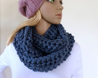 Blue Infinity scarf Denim Cowl Chunky Scarf Womens Knit Accessory Circle Scarf