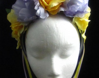 OOAK Lavender Sunrise Headdress for Day of the Dead/Wedding/Cospay