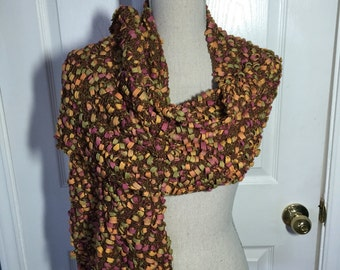 Hand Knitted Shawl in Tangerine, Kiwi and Blue Ribbon Yarn