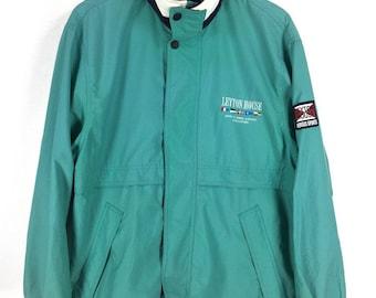 LEYTON HOUSE Windbreaker Jacket Medium Unisex Vintage 90's Leyton House Sportswear Green Windbreaker Sports Hoodie Jacket Size M