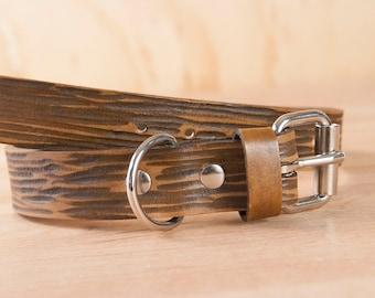 """Collier pour chien - cuir pour les chiens de race moyenne dans le modèle de Blaise - grain de bois brun - 1"""" large - peut être personnalisé avec le nom"""