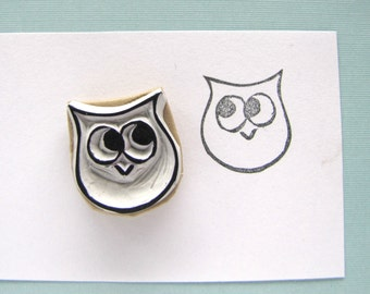 Small owl rubber stamp hooter owlet 3