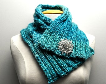 Knit Cable Cowl in Teal Ombre with decorative pin