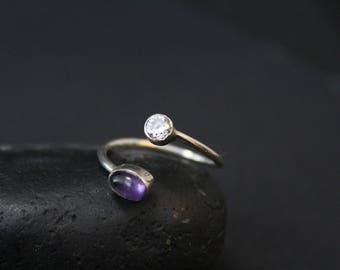 Minimalist Sterling Silver Amethyst and CZ Bypass Ring, Sterling Silver Bypass Ring, Gemstone Wrap Ring, Gemstone Bypass Ring