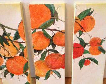 Oranges set of 3 acrylic painting orange tree branches original artwork