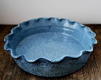Cobalt Blue Ruffled Rim Deep Dish Pie Plate Stoneware Pottery Ready to ship
