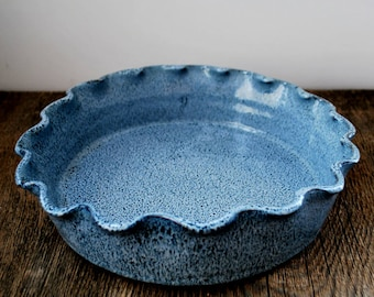 Cobalt Blue Ruffled Rim Deep Dish Pie Plate Stoneware Pottery Ready to ship & Pottery pie plate | Etsy