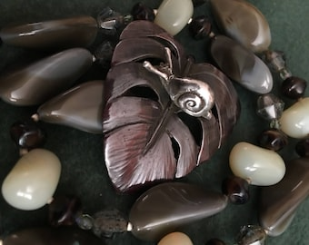 """Sterling and Shibuichi Snail on Leaf  """"Slow Rider"""" Necklace"""