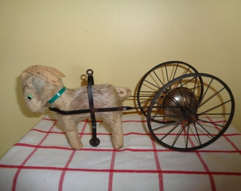 Antique old RARE Gong Bell Vintage Animal Goat and cart with Bell & Wheels Toy