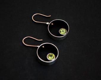 Peridot earrings, silver, bronze