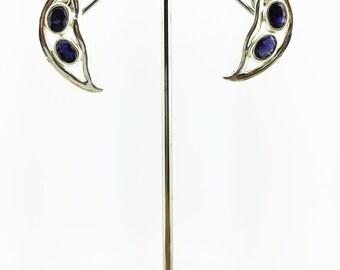Iolite Stud Earrings 925 Sterling Silver Indigo 6.67 Grams