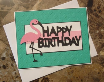 Flamingo Happy Birthday Card, Turquoise, Pink and Black, Blank Inside