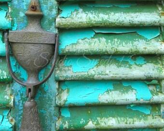 "Door Photography, Rustic Decor, Turquoise Green Print, Weathered Decor Art, Farmhouse Art, Peeling Paint, Old Door Knocker - ""Rustic Dreams"""