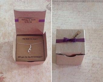 Silver Antler Necklace Bridesmaid Gift