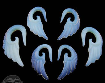 Opalite Glass Angel Wing Spirals - Sizes / Gauges (2G, 0G, 00G)