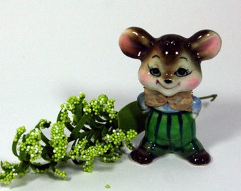 Jaunty gentleman mouse with pinstripe trousers and bow tie-small vintage smiling mouse figurine