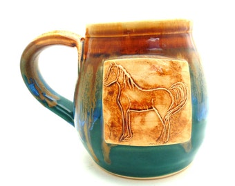 Handmade Pottery Mug Horse teal and brown by Jewel Pottery ceramics and pottery