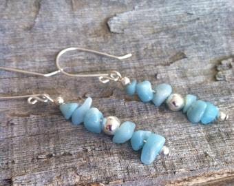 Amazonite Stick Earrings, Blue Stone Earrings, Handmade Jewelry, Metaphysical Earrings, Yoga Jewelry, Chakra Earrings