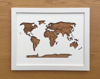 "Beautiful framed cork world map 11"" x 14"""