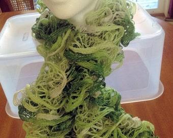 Hand Knit Ruffled Christmas Scarfs