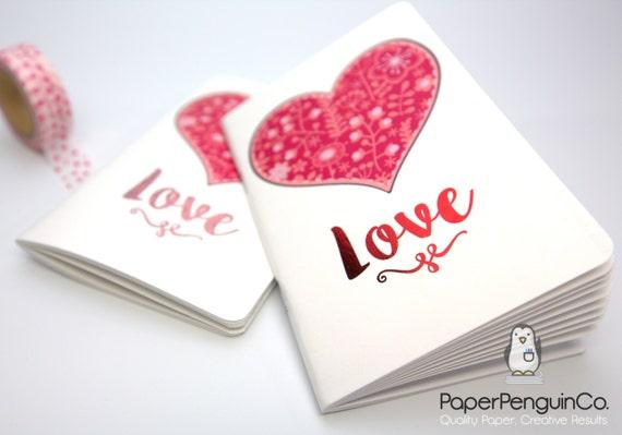 Midori Insert Foil Love Heart MTN Traveler's Notebook Regular Standard A5 Wide B6 Personal A6 Pocket Field Notes Passport / Grid Dots Lined