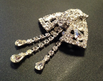 Rhinestone Brooch by Kramer of New York Vintage Pin Mid Century Jewelry Signed Clear White on Silver Tone
