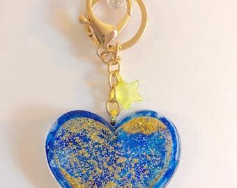 Blue Shaker Heart Keychain