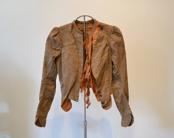 As Is Victorian Tweed Jacket. Fitted, Gathered Sleeves, Boning. Use as Costume Piece , Restoration, Show, Design Inspiration, Education